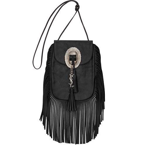 Anita Tassled Flat Bag Black