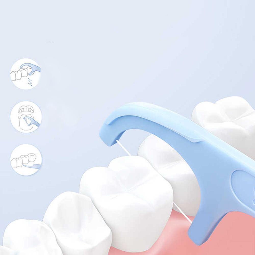 Ata Dentara Stick 50 Buc, Set de 6 pachete Albastru