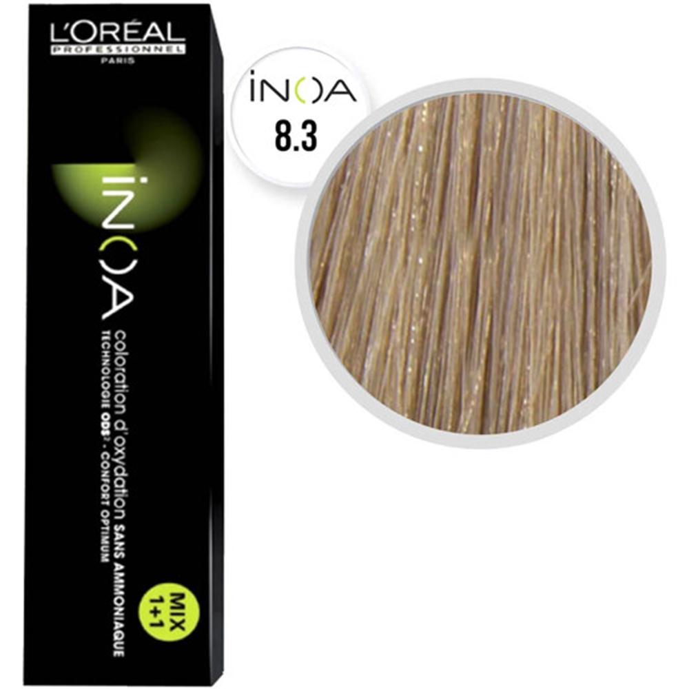Inoa Fundamentals Vopsea de par permanenta fara amoniac 8.3 Light Golden Blonde