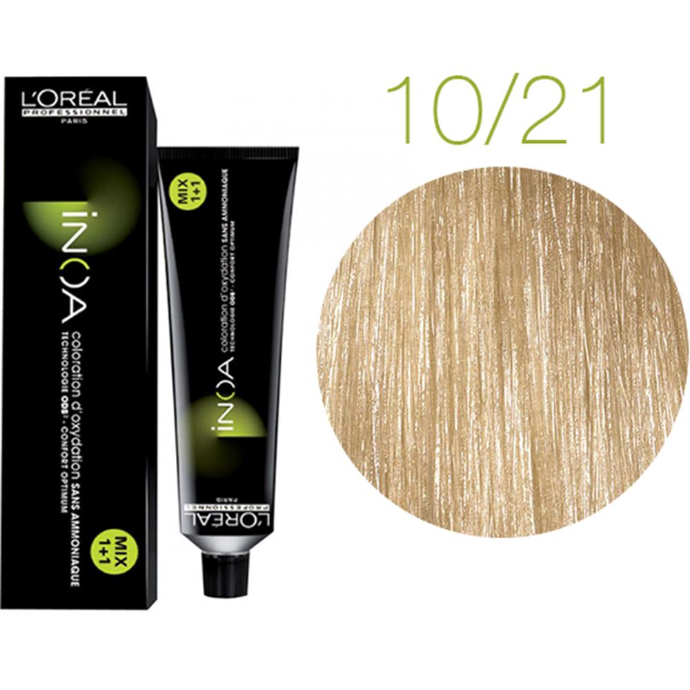 Inoa Vopsea de par permanenta fara amoniac 10.21 Lightest Iridescent Ash Blonde