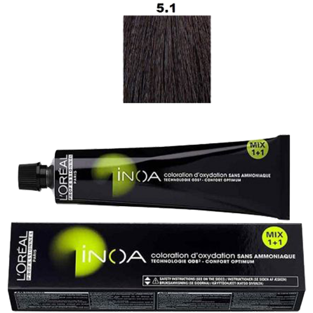 Inoa Vopsea de par permanenta fara amoniac 5.1 Light Chestnut Ash