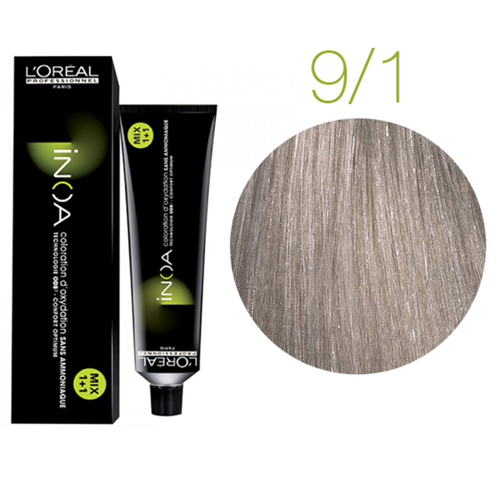 Inoa Vopsea de par permanenta fara amoniac 9.1 Very Light Blonde Ash