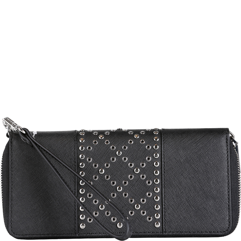 Jet Set Travel Grommeted Leather Continental Wristlet