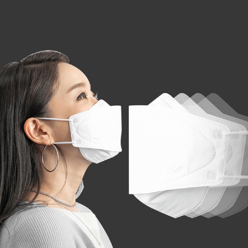 MEDI Mask 3D design Masca faciala profesionala KN95 pentru adulti, cu 4 straturi nanofiltre de protectie, filtru FFP2, set 50 buc, produs steril, EN 149:2001, Made in Korea, eficienta COVID