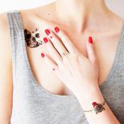 Tatuaj temporar Skull Glittery Minds rezistent la apa Femei